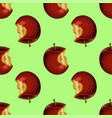 red apple while core half seamless pattern vector image