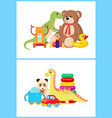 robot and dinosaurs toy set vector image vector image