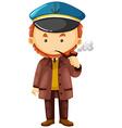 Sea captain in brown overcoat vector image vector image