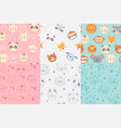 seamless animals faces pattern cute animal heads vector image vector image