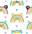 seamless pattern with cute baby animals rainbows vector image
