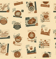 seamless pattern with postmarks on coffee theme vector image vector image