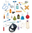 set medical drugs and tools collection vector image