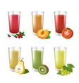 set of realistic glasses with tasty juice on white vector image vector image