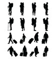 silhouettes of travelers vector image