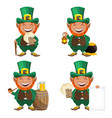 st patricks day leprechaun cartoon character vector image vector image