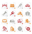 stylized car service maintenance icons vector image vector image