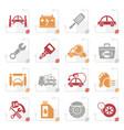stylized car service maintenance icons vector image