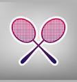 two tennis racket sign purple gradient vector image vector image