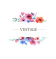 vintage floral watercolor frame vector image vector image