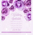 watercolor violet roses card wedding vector image