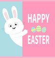 white bunny rabbit holding big signboard cute vector image vector image