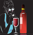 wine and glass vector image