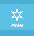 winter snowflake symbol white color isolated on vector image