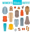 Women winter clothes flat icons set vector image