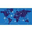 world map airplane flights vector image vector image