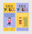 yoga kids vertical flyers vector image vector image