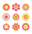 abstract round fowers made circle cartoon style vector image