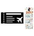 Airticket Icon with 2017 Year Bonus Symbols vector image vector image