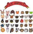 animal heads hand drawn vector image vector image