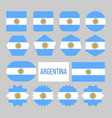 argentina flag collection figure icons set vector image vector image