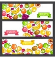 Banners design with stylized fresh ripe fruits vector image vector image