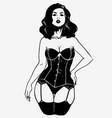 beautiful woman in elegant black corset vector image vector image