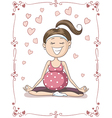 Blissful Pregnant Yoga Cartoon vector image vector image
