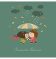 Boy and a girl kissing under umbrella vector image vector image