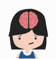 brain in head girl cartoon vector image