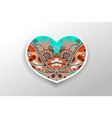 card with floral ornamental paisley heart vector image
