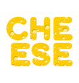 Cheese Letters of yellow cheese texture vector image