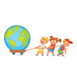 children pulling wagon with a globe vector image