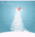 Christmas tree blue background blue vector image vector image