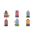 colorful european facades of houses set buildings vector image vector image