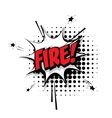 Comic text fire pop art bubble vector image vector image