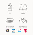 couple gift and wedding rings icons vector image vector image
