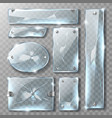cracked glass banner or plate with metal bolts vector image vector image