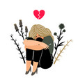 crying girl with sad feeling vector image vector image