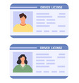 drivers id card woman and man driving licences vector image