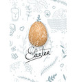 easter composition with eggs and handdrawn vector image vector image