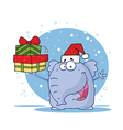 Elephant Holds Up Gifts In The Snow vector image vector image