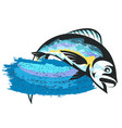 fish on the wave isolated vector image vector image