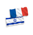 flags france and israel on a white background vector image