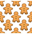 gingerbread cookie pattern in hand drawn style vector image