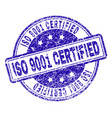 grunge textured iso 9001 certified stamp seal vector image vector image