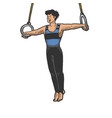 gymnast performing on steady rings sketch vector image