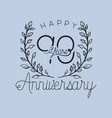 happy anniversary number ninety with wreath crown vector image vector image