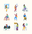 happy travellers active outdoor persons vector image vector image