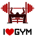 I Love Gym Symbol vector image